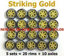 1/64 tyres TE37 Striking Gold rims fit Hot Wheels Matchbox diecast - 5 sets K