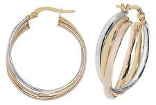 Oro Aro Pendientes Criollos Hallmark Rosa Amarillo & Blanco de 20mm