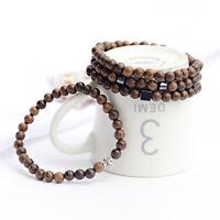 Men's Women 6MM Wood Hematite Cross Healing Balance Couple Bracelets Jewelry