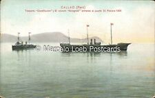 PERU CALLAO TRANSPORTE CONSTITUCION Y EL CRUCERO BOLOGNESI AL PUERTO 20/2/1908