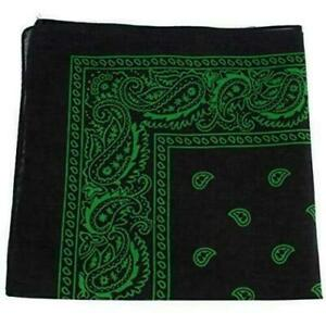 10 X Black And Green Paisley Bandanas Head Wrap 100% Cotton Neck Scarf Mask Band
