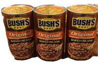 BUSH'S BEST Original Beans Baked 3 Cans- 28 Oz - Canned Fat Free, Fast Shipping