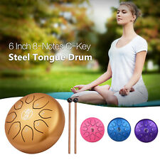 More details for 6 inch steel tongue drum handpan 8 notes percussion instrument with mallets o7e8