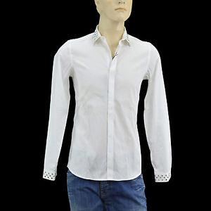 $350 BURBERRY Prorsum White Silver Studs Dress Mens Shirt S LIMITED EDITION
