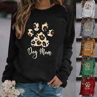 Womens Cat Paw Print T-Shirt Long Sleeve Sweatshirts Loose Causal Tops Blouses