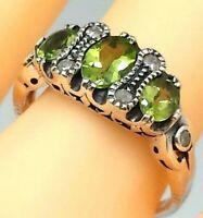 Peridot Ring  Peridot & Diamant   925er  Silber  ANTIK STYLE