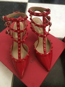 NIB 100% AUTH Valentino Rockstud Red Patent Leather Cage Pumps Sz 36
