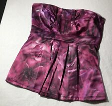 SATIN PURPLE FLORAL S DRESS TOP BLOUSE STRAPLESS PLEATED MAURICES NWT BRAND NEW