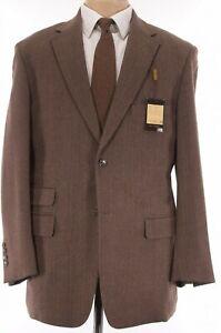 Crittenden NWT Sport Coat Size 46R Solid Brown Herringbone Soft Tweed Harrods