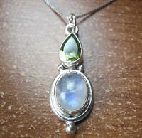 Faceted Peridot Teardrop and Moonstone 925 Sterling Silver Pendant Corona Sun
