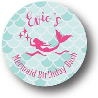 30 Mermaid Birthday Bash Personalized Birthday Party Favors Treat Bag Stickers