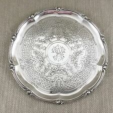 Rare Antique Christofle Tray Silver Plated French Ornate Engraved