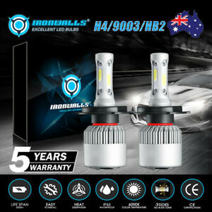 H4 HB2 9003 LED Headlight Bulbs Conversion Kit 80W 9600LM White High Low Beam AU