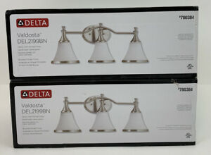 2 Delta Valdosta Vanity Lights Brushed Nickel W/ Etched Glass 3 Fixture