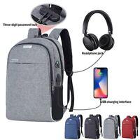 Rucksack Tasche USB + Kopfhörer Port mit Schloss Reisetasche Schule Laptop