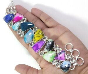 Dendritic Agate White Topaz Gemstone Handmade Jewelry Silver Bracelet B-333
