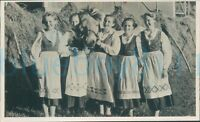 """1950s Mother and daughters in Bavarian traditional dress with pony 5.4*3.4"""""""