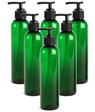 6 Empty Lotion Pump Bottles - Sanitizer Gel Refillable Green 8 Oz Black Pumps