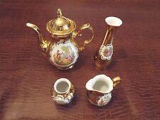 Collectible Tea Pot Bavaria Germany Fragonard Love Scene 24K Gold STW 5 piece
