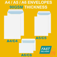 QUALITY PLAIN 90GSM WHITE ENVELOPES SELF SEAL STRONG PAPER C5/A5 C6/A6 C4/A4