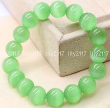 Opal Gems Stretch Bangle Bracelet 7.5'' Natural 10mm Light Green Cat's Eye Stone