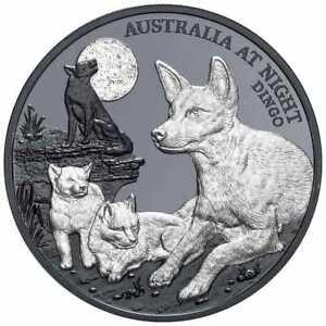 2021 $1 Australia at Night DINGO 1oz Silver Black Proof 1000 MADE