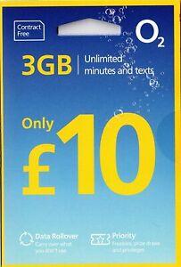 O2 02 Sim Card £10 Bundle Standard Micro Nano UK Sim Card New Contract Free