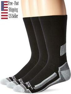 Carhartt Mens 3 Pack Force Performance Work Crew Socks Black Shoe 6-12