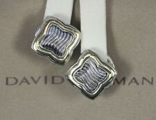 David Yurman 18K Yellow Gold Silver 23mm Quatrefoil Cable Omega Back Earrings