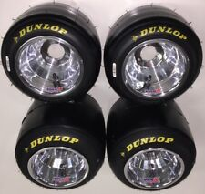 Set of Dunlop QMA Racing Go Kart Tires & New VanK Pro Series Polished Wheels
