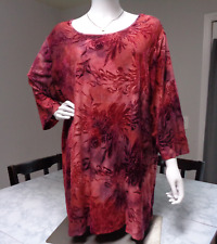 CATHERINES 2X RED OMBRE FLORAL TEXTURED SUEDE-FEEL 3/4 TUNIC TOP BLOUSE