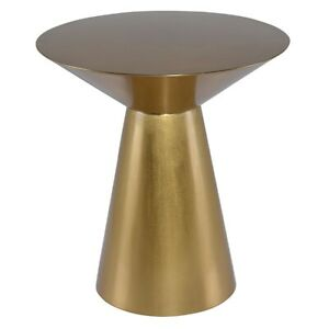 """21"""" T Austin Side Table Brushed Gold Finished Stainless Steel Conical Shape"""