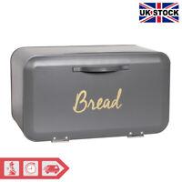 Large Bread Bin Kitchen Loaf Storage Box Front Opening Grey
