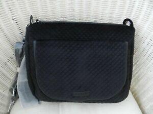 Vera Bradley Carson Shoulder Bag Crossbody 2 Straps 3 Way Classic Black Velvet