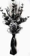 ARTIFICIAL FLOWERS LARGE SILVER GLITTER BLACK NYLON ARRANGEMENT IN VASE 95CM