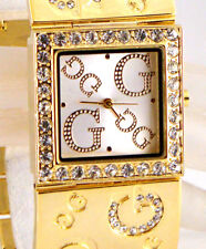 STUNNING Gold Plated Wide Bracelet Square DESIGNER Inspired Crystal G Cuff Watch