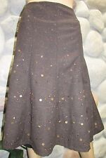 Coldwater Creek Women's Brown Beaded/Sequin Lined Twill Fall Skirt Size XXL $120