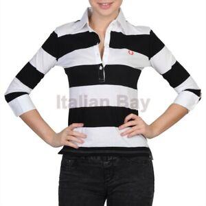 Polo Donna Fred Perry SlimFit Maglia a Righe manica 3/4 maglietta ragazza