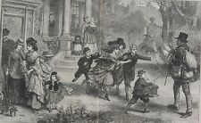 1872 Two Large Engravings- Valentine's Day & Christmas Newspaper Battle of Girls