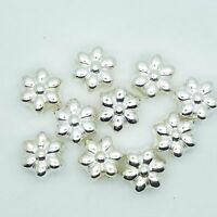 12mm Flower Floral Beads Metalized Large Hole Bright Silver Finish pk/10