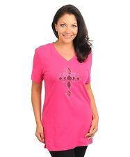Women Hot Pink Cross Cutout Detail  Rhinestone Top Blouse Size 2X