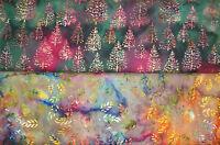 Patchworkstoff (€22/m²) 0,3 m Bali Batik Bäume Zweige Weihnachten 1,1m breit