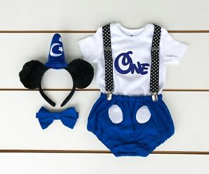 5 Piece Mickey Mouse Cake Smash Outfit - First Birthday Set - Baby Boy