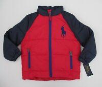 NWT Ralph Lauren Polo Big Pony Ripstop Red Navy Puffer Jacket Coat Sz 5 NEW $175