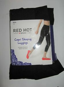Red Hot SPANX Capri Shaping Leggings XL Black New