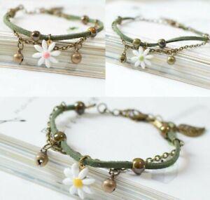 Daisy Bracelet Bangle Flower Beads Girls Ceramic Charm Jewellery Boho Wedding