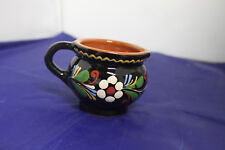 Vintage hand painted clay pottery creamer made in Switzerland black with flowers