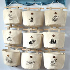 FD2816 Retro Linen Wall Door Hanging Storage Bag Organizer Makeup Gadget Bag ☆