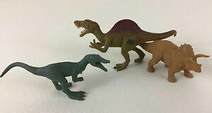 Jurassic Park World Dinosaur Figures Triceratops PVC 3pc Lot Velociraptor Mini