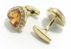 Rose Gold Elegant Crystal Cufflink set for Men's and Women with FREE Gift Pouch